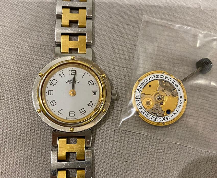 エルメス腕時計の機械交換