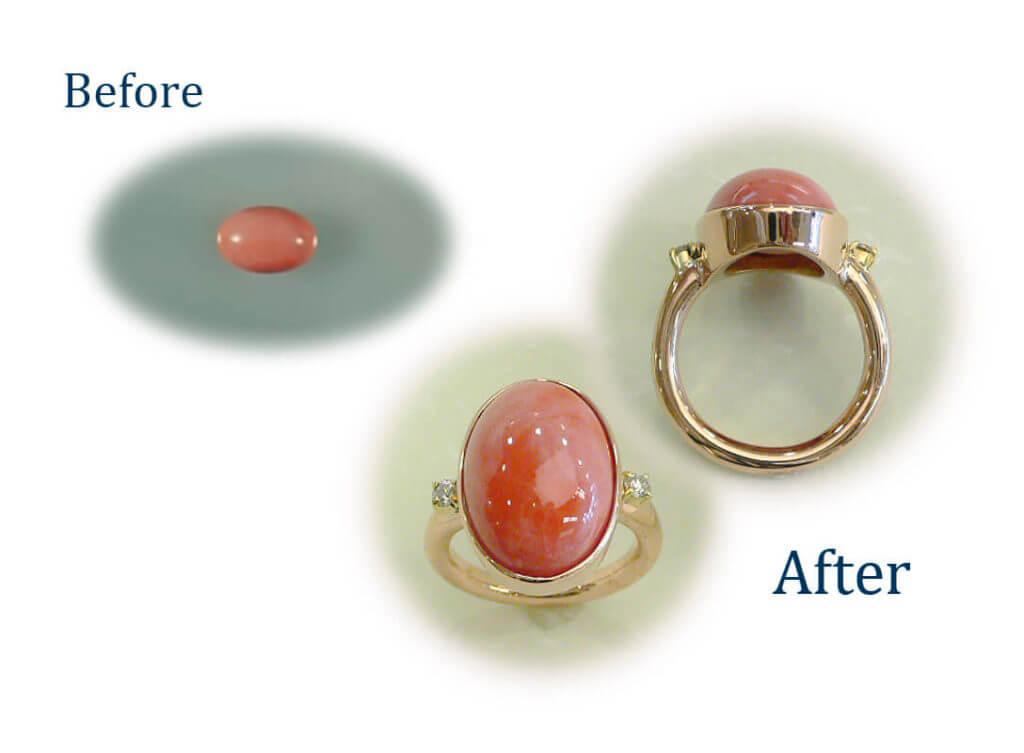 サンゴのルースを指輪に