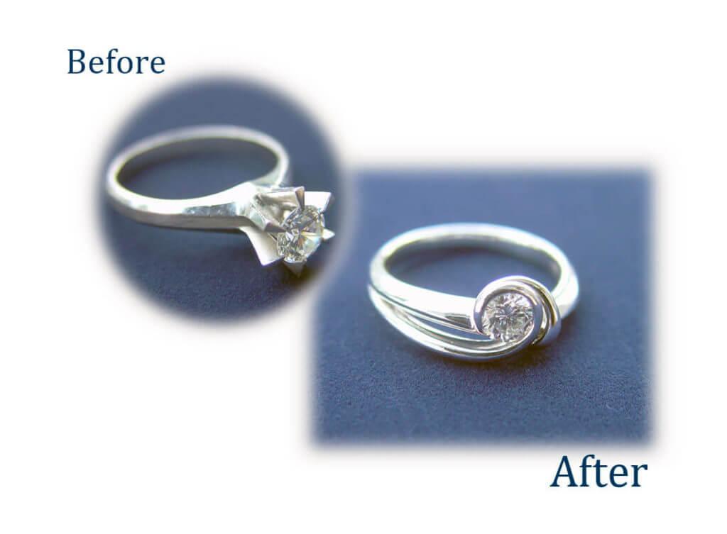 背の高いダイヤの指輪を使いやすいデザインに