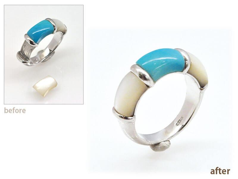 トルコ石と白蝶貝のリングの石取れ修理