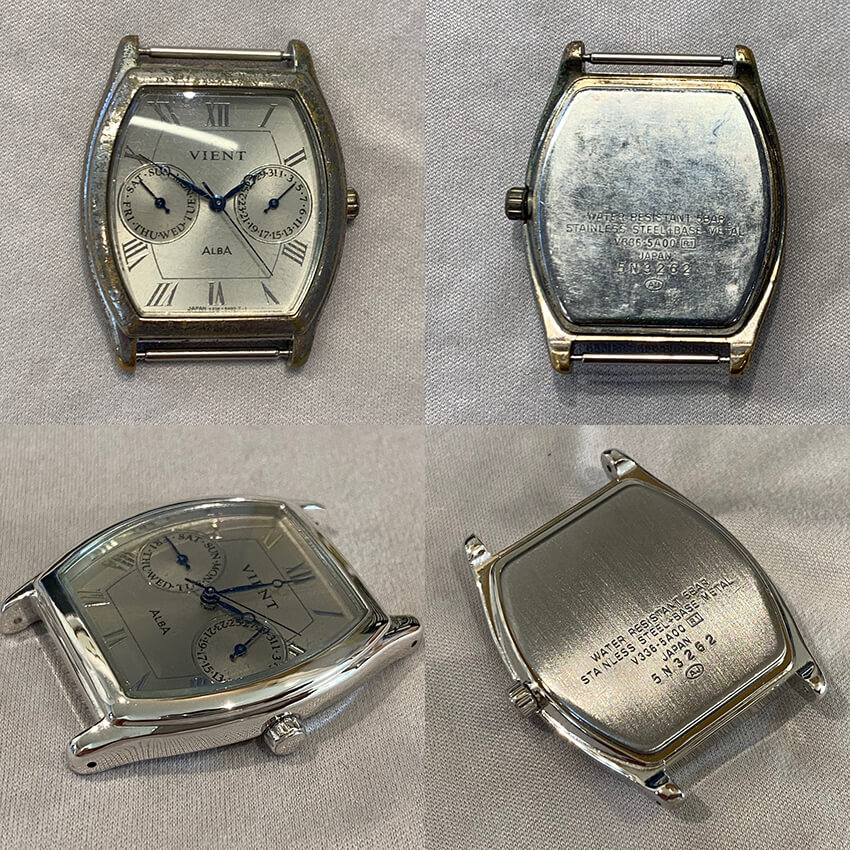 アルバ腕時計再メッキ修理ビフォア・アフター