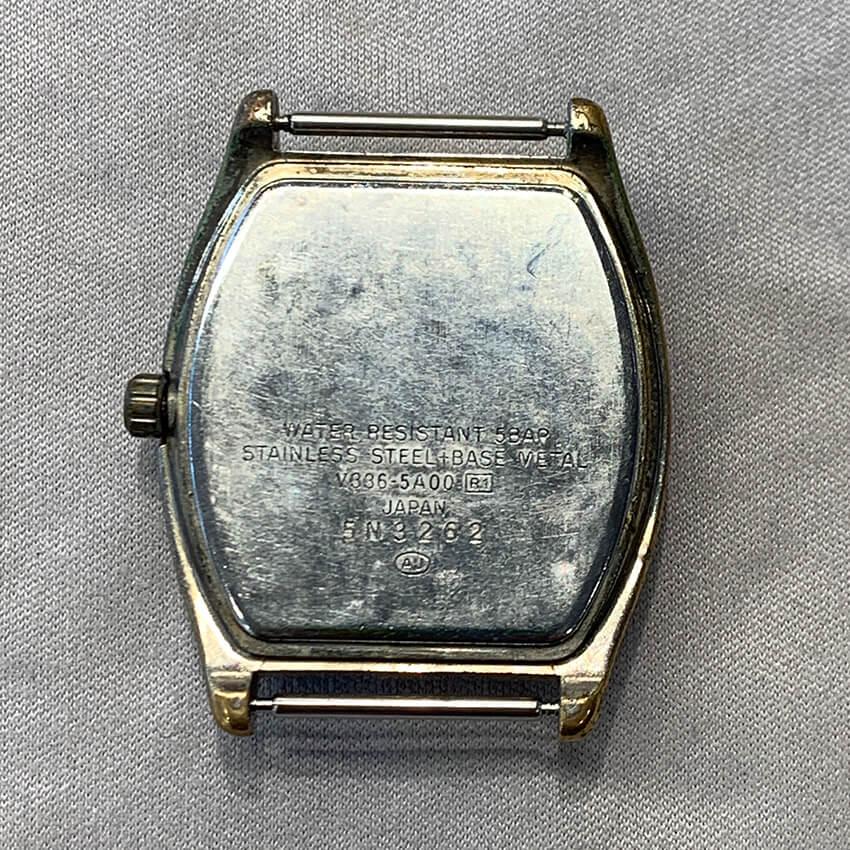 アルバ腕時計再メッキ修理前裏面