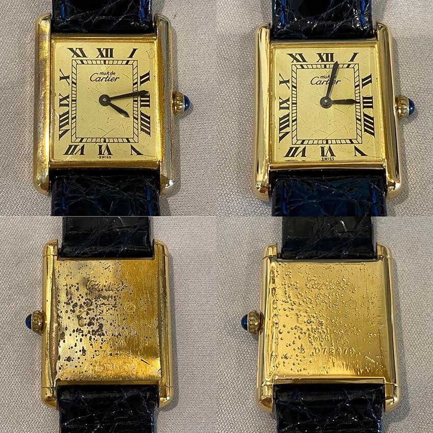 カルティエ時計再メッキ修理のビフォア・アフター