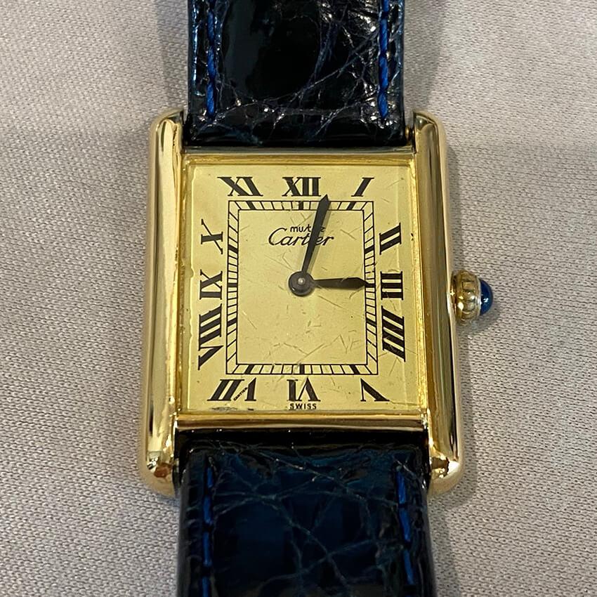 カルティエ時計再メッキ修理後の表面