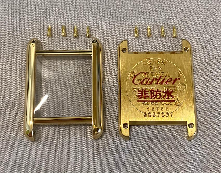 カルティエ時計変色取り修理後のパーツ