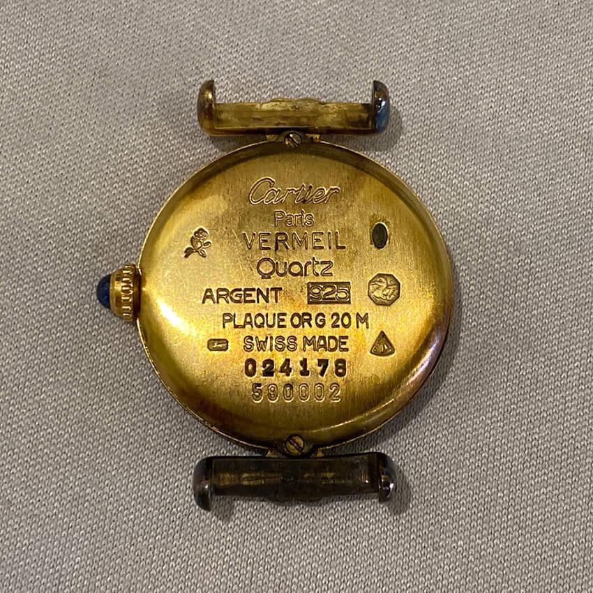 カルティエ時計修理前の裏面