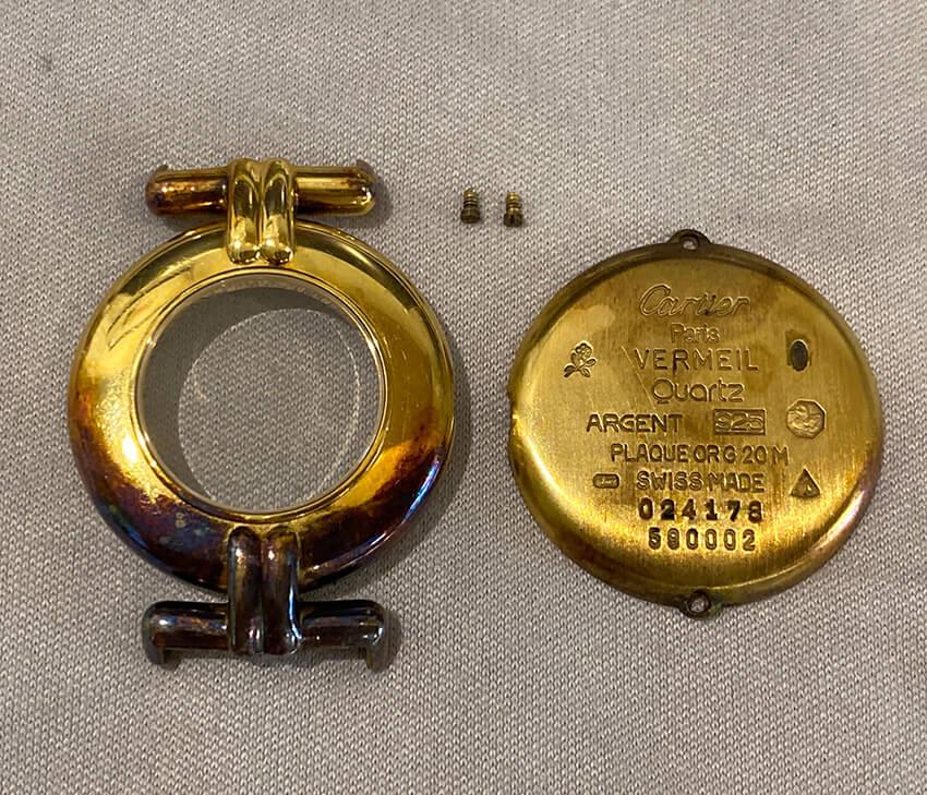 カルティエ時計修理前のパーツ