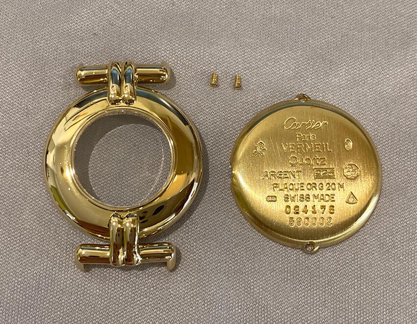 カルティエ時計変色修理後のパーツ