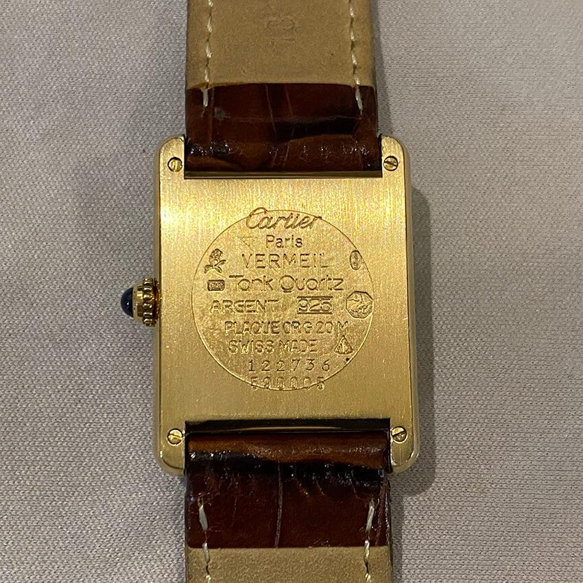 カルティエ時計ベルト装着後の裏面