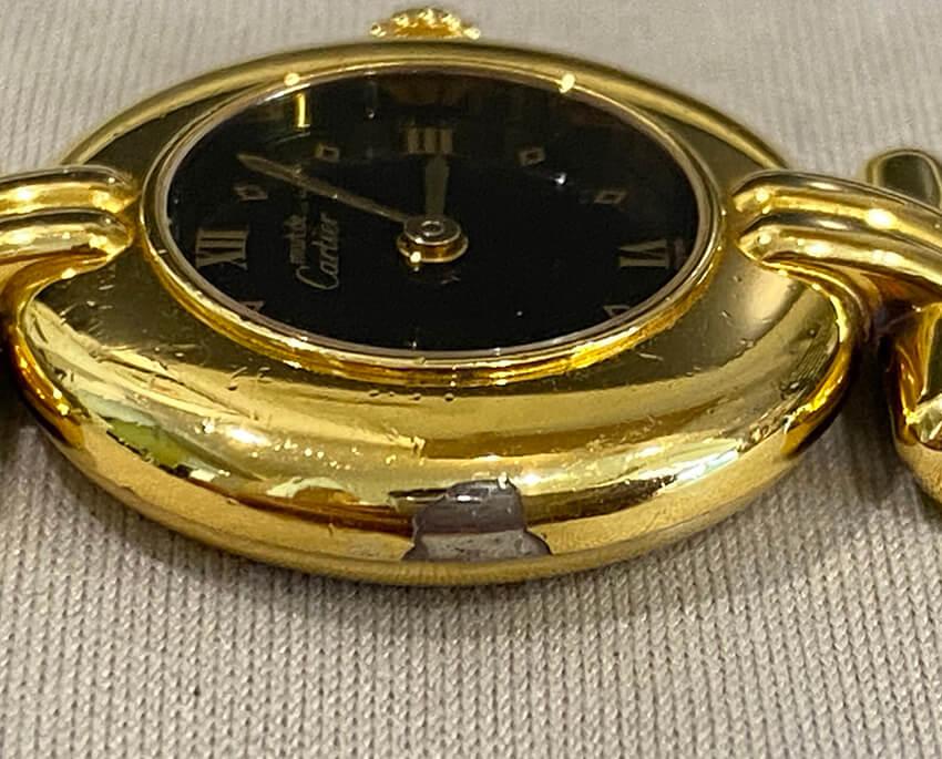 カルティエ時計のメッキ剥がれ