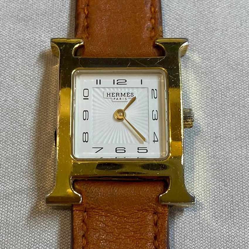 エルメス腕時計修理前の表面