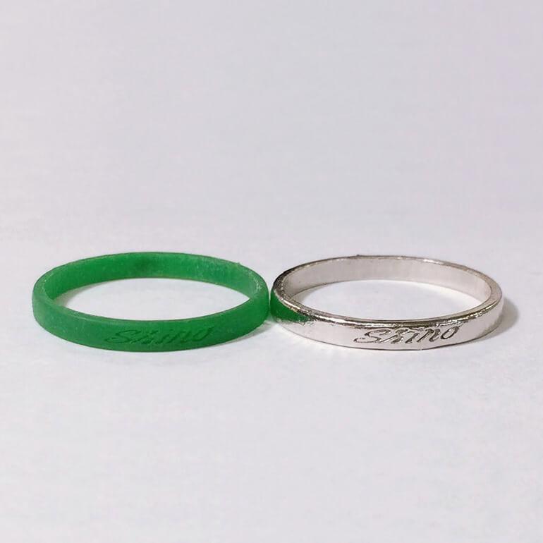 原型と鋳造後の結婚指輪