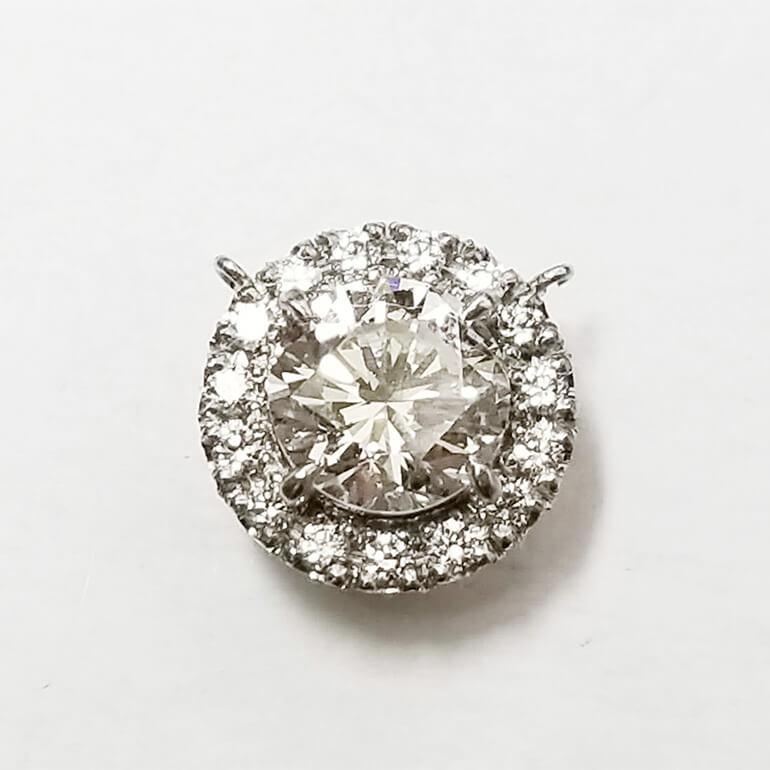 ダイヤモンド留め加工途中