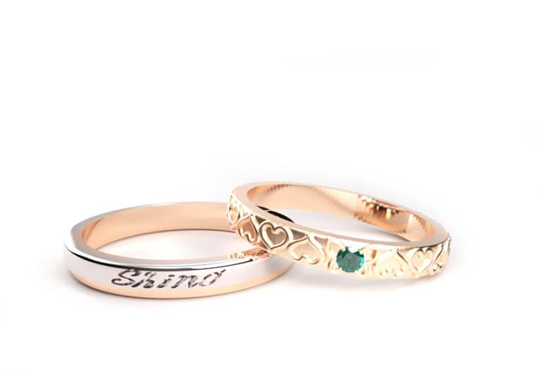 【越前市・結婚指輪オーダー】蝶モチーフの結婚指輪