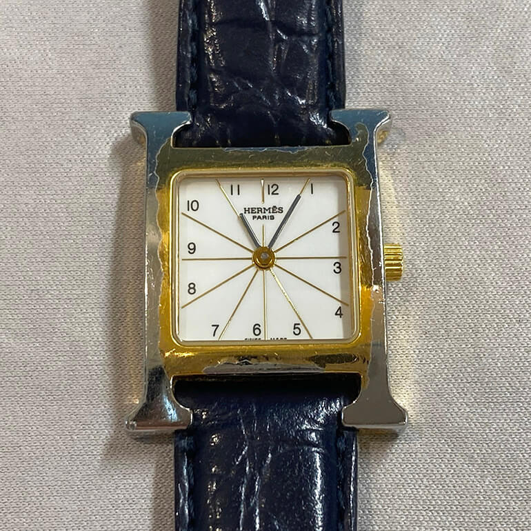 メッキが剥がれたエルメス腕時計の修理